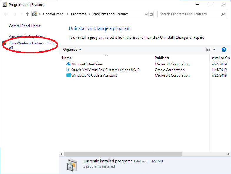 Windows機能の有効化